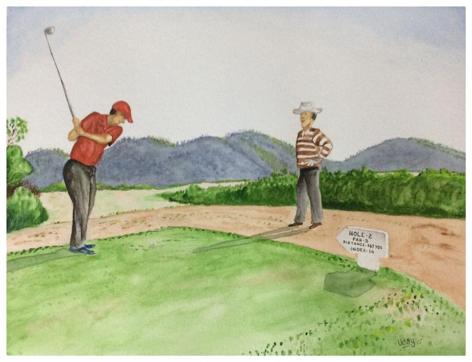 Golfers Teeing off - Watercolor